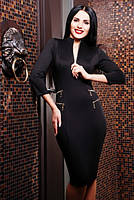 Трикотажное черное платье Прованс 42-50 размеры