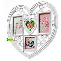 Мультирамка в виде сердца «Ажурное сердце» на 4 фотографии с птичкой и сердечком