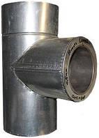 Трійники для димоходу з нержавіючої сталі з термоізоляцією в оцинкованому кожусі (87°)