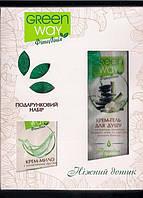 Подарочный набор GREEN WAY (3 пр) гель+крем-мыло+мочалка-пуф