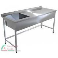 Стол с ванной из нержавеющей стали эконом 430  1000х600х850мм