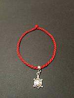 Браслет-оберег красная нить с талисманом Черепаха