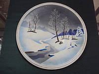 Настенная тарелка зима фарфор