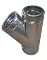 Тройники для дымохода из нержавеющей стали с термоизоляцией в оцинкованном кожухе (45°)