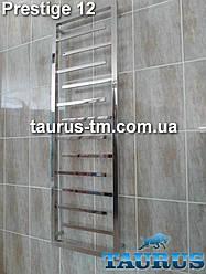 Высокий комбинированный полотенцесушитель Prestige 12 /1350х500 из н/ж стали (вода + ТЭН). Плоский