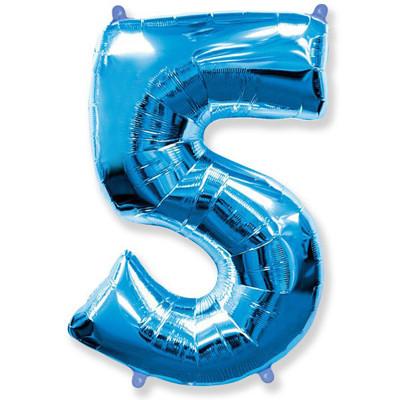 Фольгированная цифра пять, синяя