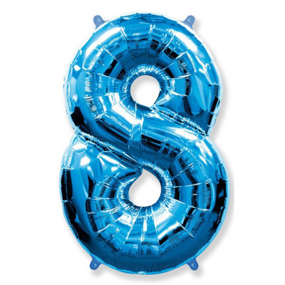 Фольгированная цифра восемь, синяя