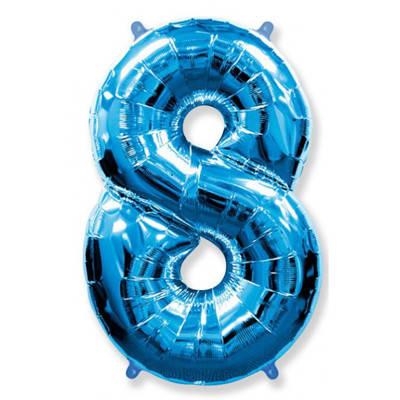 Фольгована цифра вісім, синя, фото 2
