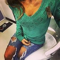 Шерстяной свитер бирюзового цвета