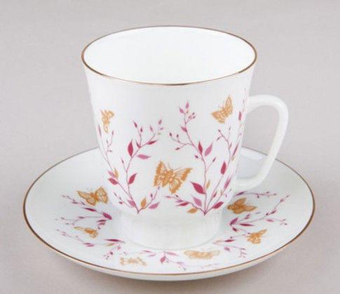 Чашка кофейная с блюдцем И.Ф.З. Майская Розовые веточки с ободком 165 мл 13735