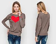 Теплый женский свитер с сердцем