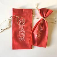 Новогодние мешочки для бутылок с принтом (14х30)