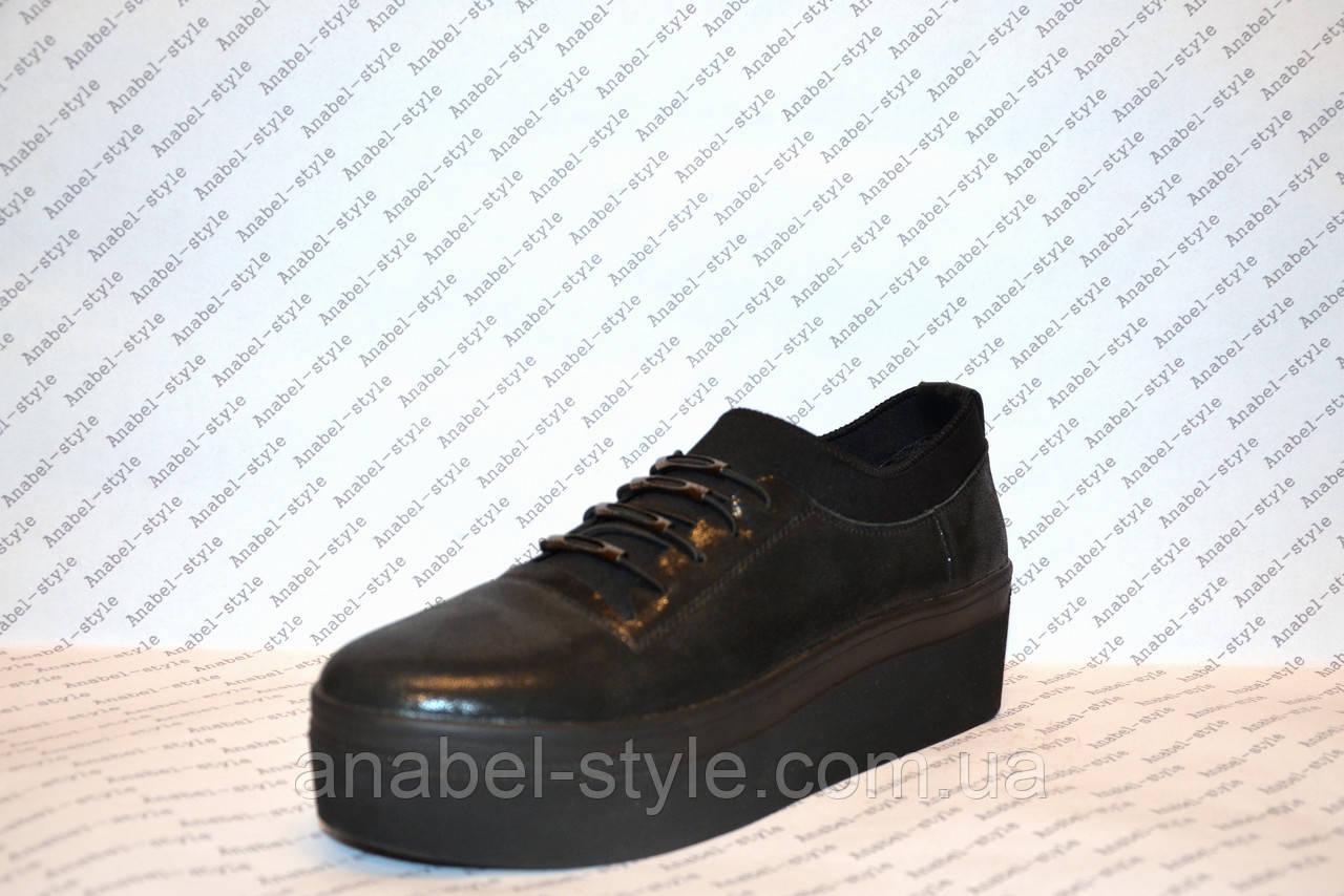 Слипоны женские стильные на шнуровке черного цвета