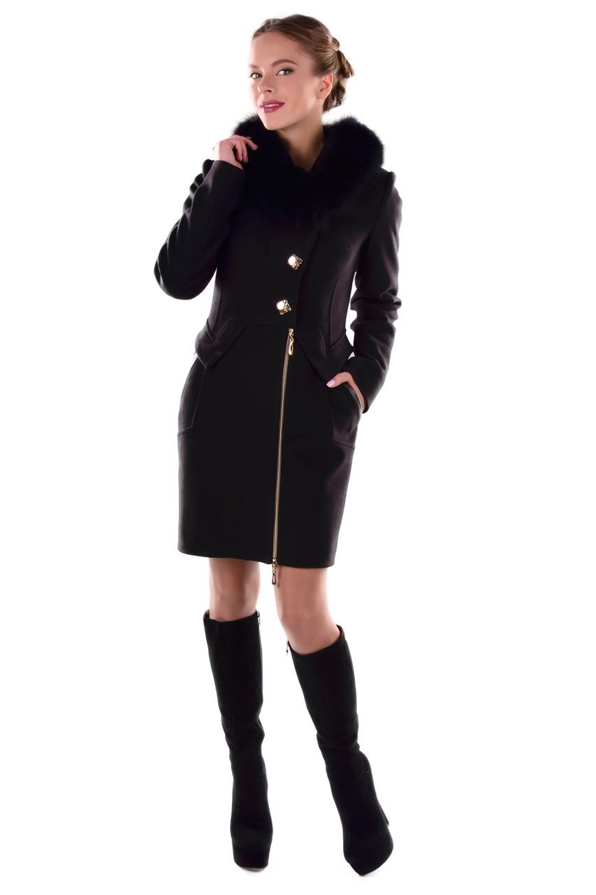 Женское зимнее кашемировое пальто арт. Глазго песец Турция элит 4571
