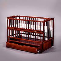 """Дитяче ліжечко Дубок """"Веселка"""" тік, з відк.боковинкою та шухлядою."""