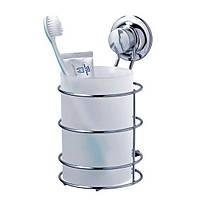 Стакан большой для зубных щеток и пасты на вакуумных присосках серии EverLoc, фото 1