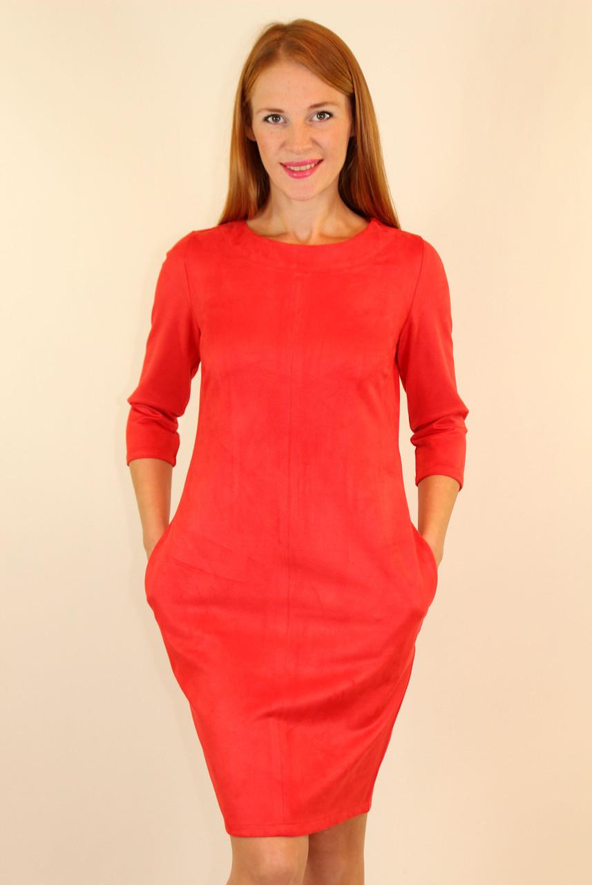 Платье сводного кроя из замша 44,46,48 р ( красный, коричневый,черный )