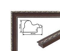 Багет пластиковый, темно-коричневый с золотой лепкой. Оформление икон, фото, вышивок