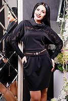Трикотажное черное платье с кружевом Мадлен  42-50 размеры