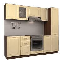 Кухонный модульный гарнитур МДФ  2,4 метра из 10 модулей бежевая (кухонный комплект мебели)