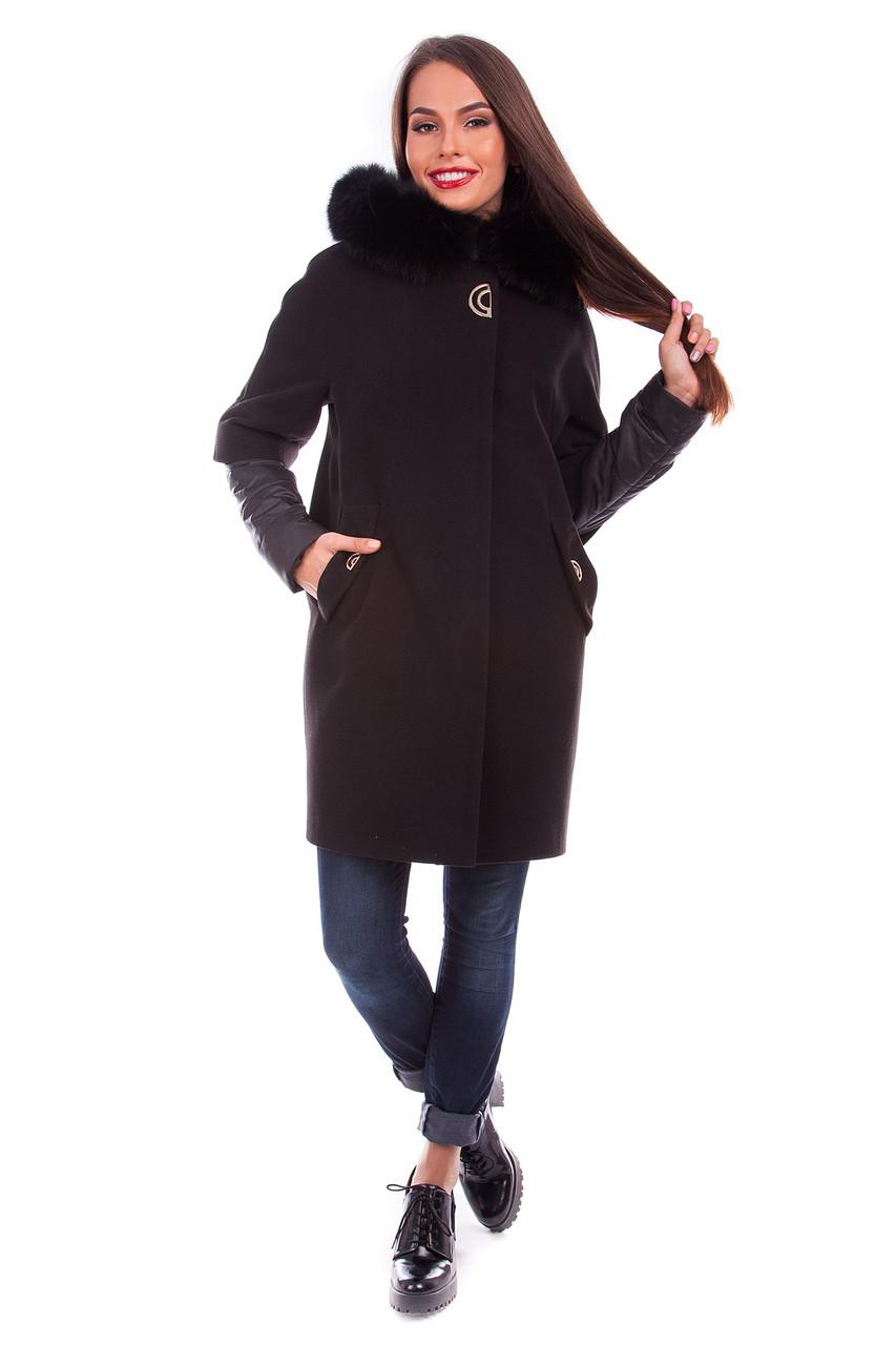 Женское зимнее кашемировое пальто + куртка арт. Твикс зима 4313