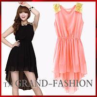 Шифоновое платье ~Шлейф-пайетки~ цвет персик только р. S