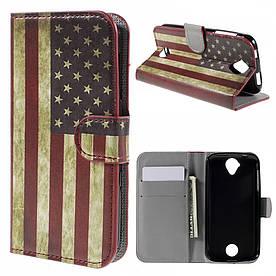 Чехол книжка для Acer Liquid Z330 / Z320  боковой с отсеком для визиток, Ретро флаг Америки