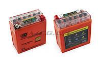 """Аккумулятор на мототехнику   12V 5А   гелевый (высокий)   """"OUTDO""""   (119x60x128, оранжевый, с индикатором заряда)"""