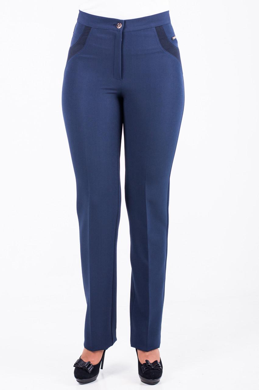 Классические женские брюки «Мерлин» синего цвета до 64 размера