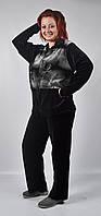 Женский велюровый спортивный костюм всех размеров (черный в цветы)