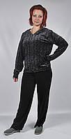 Женский велюровый спортивный костюм всех размеров (черный леопард)