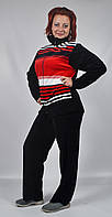 Женский велюровый спортивный костюм всех размеров (черный в красные полосы)