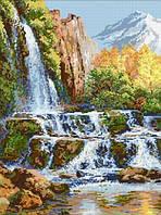 """Мозаика квадратными камнями """"Пейзаж с водопадом""""  47*60 см"""