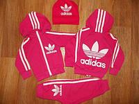Детский Спортивный Костюм Adidas Малиновый Двойка с капюшоном   Рост 74-122 см