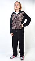 Женский велюровый спортивный костюм с капюшоном (тигр)