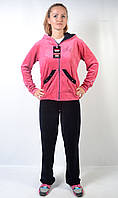 Женский брендовый спортивный костюм - Angel (черный/розовый)