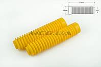 """Гофры передней вилки (пара) на мототехнику   универсальные   L-190mm, d-30mm, D-45mm   """"MZK""""   (желтые)"""