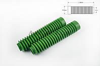 """Гофры передней вилки (пара) на мототехнику   универсальные   L-190mm, d-30mm, D-45mm   """"MZK""""   (зеленые)"""