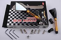 """Зеркала на мототехнику   """"CNC""""   (золото, треугольные, алюм., антиблик, переход., инструм.)"""