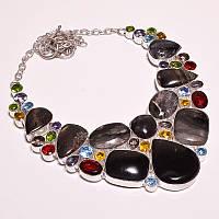 Колье из натуральных камней -  ЯШМА, КВАРЦ разных цветов