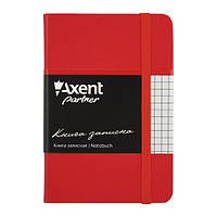 Блокнот на резинке A6 Axent Partner 8301 (96 листов) кремовая бумага, обложка твердая виниловая, красный