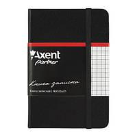 Блокнот на резинке A6 Axent Partner 8301 (96 листов) кремовая бумага, обложка твердая виниловая, черный