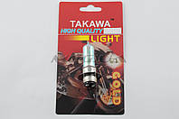 "Лампа P15D-25-1 (1 ус)   на мототехнику 12V 50W/50W   (хамелеон розовый)   ""TAKAWA""   (mod:A, блистер)"