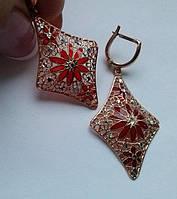 Индийские серьги с эмалью. Серебро, позолота