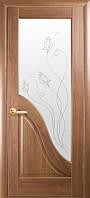 Дверь межкомнатная ламинированная Амата  витраж, цвета грей,венге,ольха золотая,каштан,ясень ПВХ