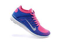 Женские кроссовки Nike Free Run Flyknit Blue Pink, фото 1