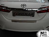 Накладка на задний бампер на Тойота Корола с 2013> (нерж) с загибом Nata Nico.