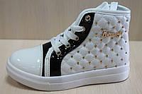 Белые лаковые ботинки на девочку, демисезонная детская обувь р.29