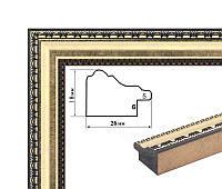 Пластиковый багет золотой с узкой лепкой. Оформление вышивок, картин, постеров