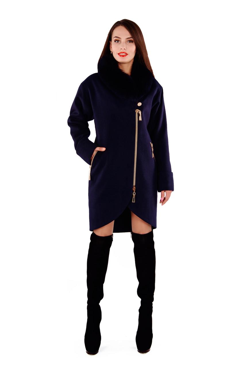 Женское темно-синее зимнее пальто с мехом арт. Бьорк зима песец 4309